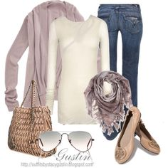 I have a dusty rose pink cardigan and a few different types of cream camis or shirts to reinvent this look, I'm thinking pearls of some type though instead of the scarf...