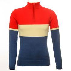 Jura Merino Jersey (Long Sleeve) - Red/Cream/Blue - Cycling Jerseys - Clothing - VeloVixen