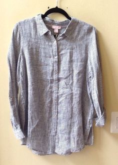 NWT SAINT TROPEZ WEST WOMEN'S MULTI-COLOR 100% LINEN LONG SLEEVE BLOUSE SIZE L #SaintTropezWest #ButtonDownShirt