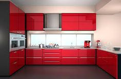 kitchen without modular Red And White Kitchen, Red Kitchen, Kitchen Decor, Modern Kitchen Island, Modern Kitchen Design, Kitchen Colour Combination, Decoration Gris, Best Kitchen Countertops, Painting Kitchen Cabinets
