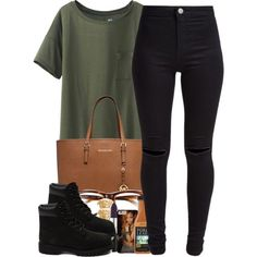 7/2/15 by janiceeveillard on Polyvore featuring Uniqlo, New Look, Timberland, MICHAEL Michael Kors, Versace and Ray-Ban