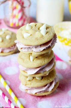 Lemon Raspberry Cookie Sandwiches