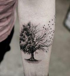 Tree and birds tattoo