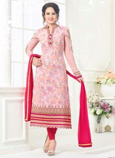 Angelic Embroidered Work Faux Georgette Churidar Designer Suit