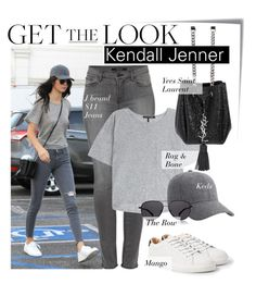 """""""Celebrity Look - Kendall Jenner"""" by monmondefou ❤ liked on Polyvore featuring Post-It, MANGO, J Brand, rag & bone, Keds, Yves Saint Laurent, The Row, women's clothing, women and female"""