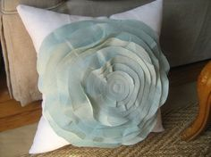 Stuffed French Rose Pillow in White and Robins Egg by dedeetsyshop, $33.00
