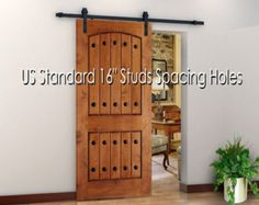 Antique Style Steel Sliding Wood Barn Door by NewHardwareStorage