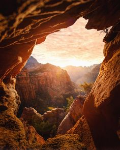 Overlook through the rocks. Zion National Park, UT IG: Canyon Overlook through the rocks. Zion National Park, UT IG: Overlook through the rocks. Parc National, Zion National Park, Zion Park, National Parks Usa, Utah Hiking Trails, Hiking Gear, Before Sunset, Road Trip Usa, Travel Images