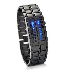 [$7.48] 2 Column Blue LED Digital Watch with Stainless Steel Watchband (Display Time / Date)