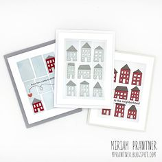 Sooner rather than Later: STAMPtember Printmaking Houses Friend Cards, Cards For Friends, Stencil Art, Stenciling, Printmaking, Gallery Wall, Diy Cards, Cartoon Art, Frame