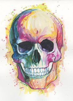 Skull Print Print by DenielleDeSantis on Etsy Skull Painting, Acrylic Painting Canvas, Skull Print, Print Print, Prismacolor, Cute Skeleton, Colorful Skulls, Skull Wallpaper, Dark Fantasy Art