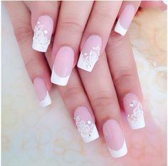 So pretty - Dehily Bridal Nails, Wedding Nails, Nail Manicure, Toe Nails, Nail Deco, Boxing Day, French Nails, Nail Colors, Nail Art Designs