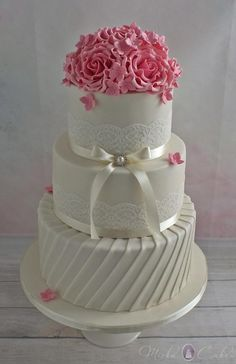 Ivory Wedding Cake with Pink Roses by Mirka Cakes  - http://cakesdecor.com/cakes/255064-ivory-wedding-cake-with-pink-roses