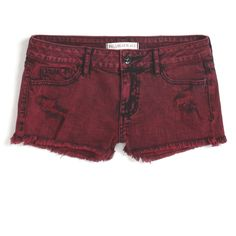 Red Acid Wash Jean Shorts