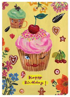Wish a loved one a very Happy Birthday with this charming greeting card featuring the delightful artwork of Nathalie Lete - Features artwork by Nathalie Lete - Bi-Fold - Includes matching envelope - 6 Happy Birthday Pictures, Very Happy Birthday, Happy Birthday Quotes, Happy Birthday Greetings, Birthday Messages, Vintage Birthday Cards, Birthday Greeting Cards, Birthday Pins, Birthday Memes
