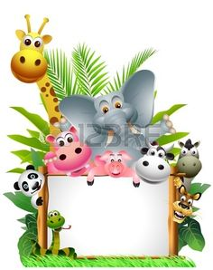 Sauvage animal cartoon africaine with blank sign photo Deco Jungle, Jungle Theme Birthday, Boarder Designs, Safari Cakes, Blank Sign, School Frame, Borders For Paper, Safari Party, African Animals
