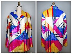 STUNNING Multicolored Sequined Jacket / Bright 1980's by braxae