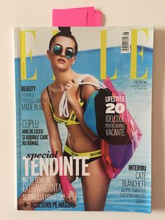 ELLE Romania, August cover; styling: Maurice Munteanu; photographer: Dan Beleiu; make-up: Diana Ionescu; hairstyle: Eric Jameson; model: Anna Yves; sunglasses: Illesteva from OPTIblu