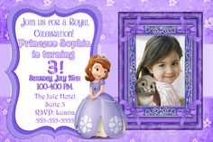 Sofia the First Invitation Printable by KidzPartyPrintables Sofia The First Birthday Party, 4th Birthday, Chalkboard Invitation, Princess Sofia, Personalized Invitations, Diy Party, Garlands, The One, Birthday Invitations