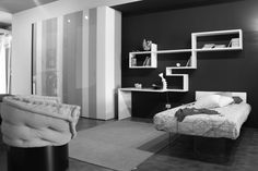 Black And White Contemporary Bedroom Designs- shelves for either boys room