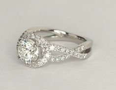 2CT Round Cut Diamond Engagement Wedding Ring 14k Solid White Gold Twisted Band #Band #Engagement