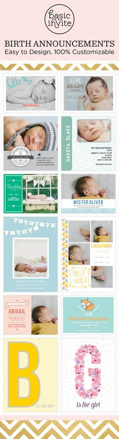 Over 100 easy to design photo birth announcements perfect for your baby girl, boy, or twins.