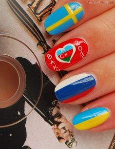 Check out these Eurovision 2012 Nails by BrilliantNail! Why not create some yourself for Eurovision 2014 Gorgeous Nails, Love Nails, How To Do Nails, Pretty Nails, Eurovision 2012, Junior Eurovision, Music Nail Art, Music Nails, Hetalia