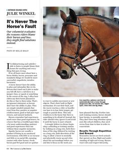 I always think that those who own and ride horses are in this sport because  they love horses. Unfortunately, it's not true. I've even overhead trainers  telling their clients that horses are just farm animals, like cattle.  It's so sad to me that people don't really understand how individual every  horse is, just like people. The only difference is horses are a lot nicer  and much more innocent than most people.  I hope you enjoy my article in the January 30 issue of The Chronicle of th...