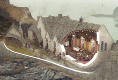 Interpretive reconstruction illustrations produced for an exhibition opened at Tintagel Castle, Cornwall in July 2015. Description from bobmarshall.co.uk. I searched for this on bing.com/images
