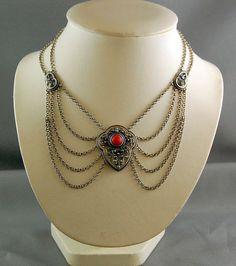 Antique Dutch Netherlands Silver Necklace Red Coral  Lavaliere Biedemeier Style  #HD #Biedemeier