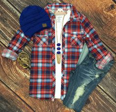 Penny Plaid Flannel Top: Red/B.Blue top can be worn as long sleeves or a 3/4 top. It is so very soft and comfy! This is a soft stretchy awesome material!