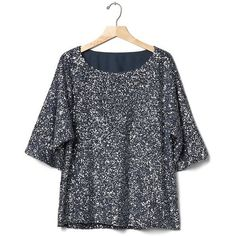 Gap Women Sequin Kimono Sleeve Top (1,125 EGP) ❤ liked on Polyvore featuring tops, gap tops, trapeze top, relaxed fit tops, overlay top and kimono sleeve top