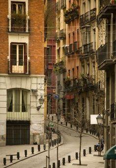 El Madrid calle, antigua ciudad, España, Europa                                                                                                                                                                                 Más