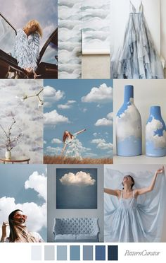 mood boards SKY HIGH - color, print & pattern trend inspiration for Spring / Summer 2019 by Pattern Curator. Pattern Curator is a trend service for color, print and pattern inspiration. Color Patterns, Color Schemes, Print Patterns, Collage Background, Color Stories, Blue Aesthetic, Fashion Colours, Sky High, Color Trends