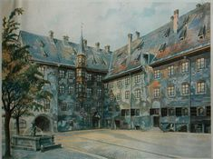 "The Courtyard of the Old Residency in Munich (1914) is one of the paintings by Adolf Hitler from his lesser known career as an artist.In many of Hitler's watercolors, scholar Charles Snyder notes the ""detailed attention to humble structures surrounded by water and vegetation, [but] the architecture is of the prime importance... Note plant life, especially leaves on trees. Leaves are typically daubed and dappled in with little regard for accuracy or realism, often used to 'frame' the…"