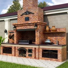"""Receive excellent suggestions on """"built in grill patio"""". They are offered for you on our internet site. Backyard Kitchen, Summer Kitchen, Outdoor Kitchen Design, Backyard Patio, Outdoor Kitchens, Patio Design, Patio Gas, Backyard Barbeque, Backyard Landscaping"""