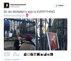 Funniest Women's March Signs From Around the World: Ian McKellen's Protest