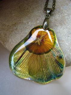 unique necklase- metal, real flower, resin