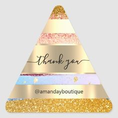Thank You Shopping Boutique Glitter Gold Triangle Triangle Sticker Anniversary Party Favors, Wedding Anniversary, Bridal Shower Favors, Boutique Shop, Different Shapes, Business Supplies, Custom Stickers, Gold Glitter, Keep It Cleaner