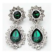 Luxury  Green Heart Crystal Drop Earrings  – USD $ 23.99