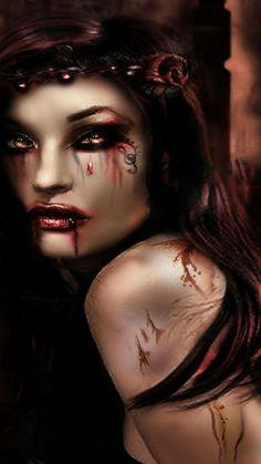 Goddess-Warrior G ~Blood colors Scary Vampire, Vampire Love, Female Vampire, Vampire Girls, Vampire Art, Real Vampires, Vampires And Werewolves, Gothic Fantasy Art, Fantasy Artwork