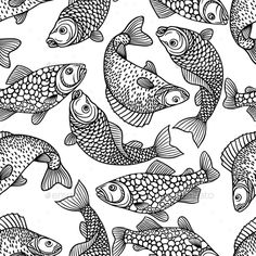Seamless Pattern with Decorative Fish by incomible Zip file contains fully editable EPS8 RGB vector file and high resolution pixels RGB Jpeg image. It does not contain gradients, tr