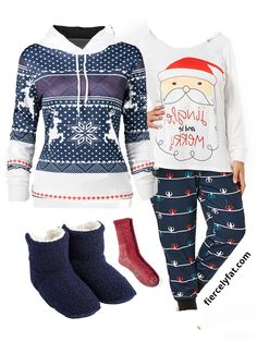 A plus size Christmas pajamas outfit inspiration. Featuring plus size pajamas set by Rosegal, Christmas print hoodie, red wool socks by Target, Uniqlo fleece house booties. Christmas Pajama Party, Christmas Print, Christmas Pajamas, Christmas Holiday, Chic And Curvy, Plus Size Pajamas, Pajama Outfits, Wool Socks, Classy Casual