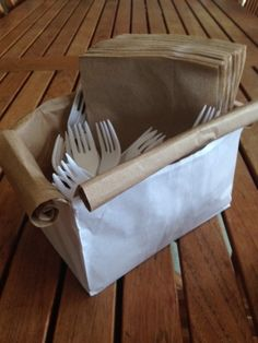 Clever Entertaining Idea: paper bag napkin holders