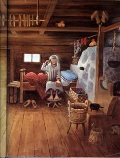 """""""Louhi Witch of North Farm"""" – Retold by Tony De Gerez – Pictures by Barbara Cooney Barbara Cooney, Garth Williams, The Worst Witch, Children's Book Illustration, Childrens Books, Illustrators, Folk Art, Fairy Tales, Concept Art"""