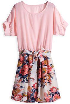 Vestido floral con cinturón mangas cortas-Rojo EUR16.49 www.sheinside.com