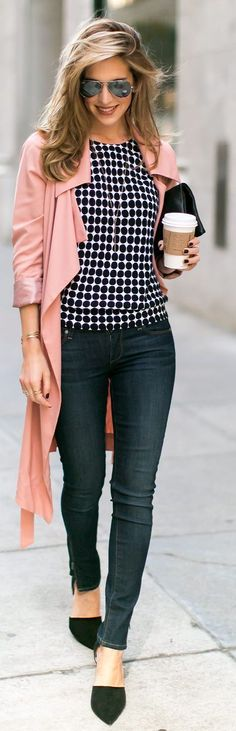 Casual pink trench, polka dots blouse, classical jeans and suede shoes - amazing look ideas for spring 2015.