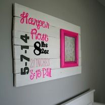 This customizable birth stat sign is the perfect way to remember your little one's debut! Featuring an 8 x 10 frame which is easy to remove for adding a picture. This wooden sign features hot pink, grey, black, and white - but you can request any colors you would prefer! Just contact me.  SIGN ...