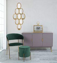 Oglinda decorativa de perete cu suport lumanare Glam 54x118cm Minimalism, Cabinet, Living Room, Interior Design, Storage, Metal, Green, Inspiration, Furniture