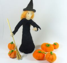 Black Halloween Needle Felted Witch w 2 Pumpkins, a Crow, and a Broom Decor - pinned by pin4etsy.com